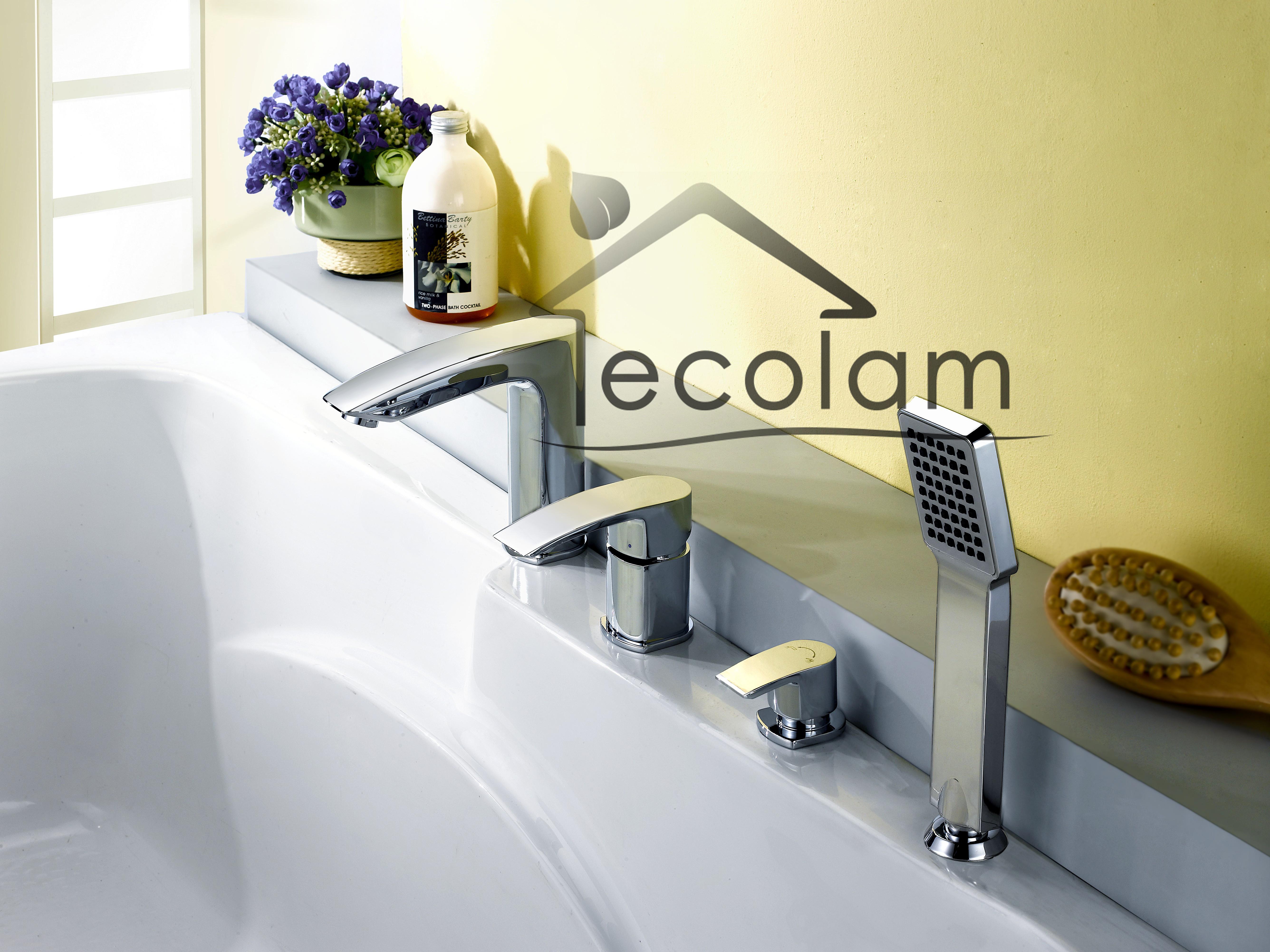 set badewannenarmatur handbrause badewanne armatur chrom wannenrand 4 loch ebay. Black Bedroom Furniture Sets. Home Design Ideas
