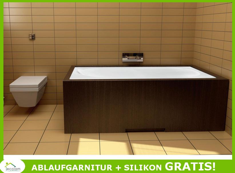 badewanne wanne rechteck acryl 140 x 70 cm wannentr ger baden ablauf silikon pmd ebay. Black Bedroom Furniture Sets. Home Design Ideas