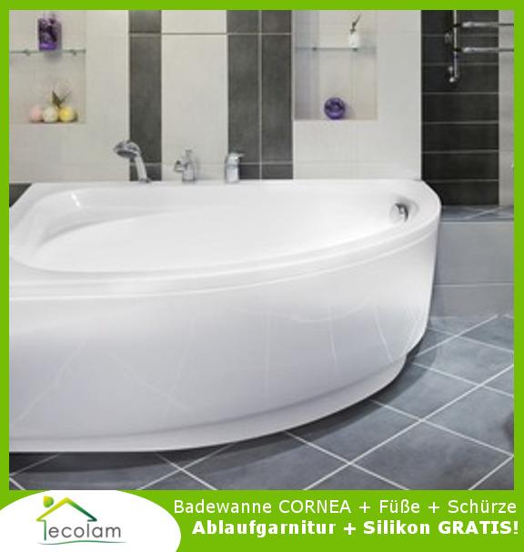 badewanne wanne eckwanne acryl 140 x 80 cm links sch rze. Black Bedroom Furniture Sets. Home Design Ideas