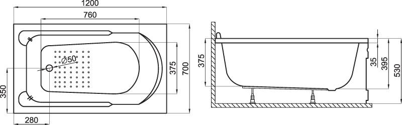 badewanne wanne rechteck eckwanne 120 x 70 cm sch rze ablauf silikon ebay. Black Bedroom Furniture Sets. Home Design Ideas