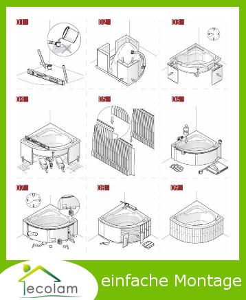 badewanne wanne eckwanne 170 x 100 wannentr ger styropor ablauf ecolam links ebay. Black Bedroom Furniture Sets. Home Design Ideas