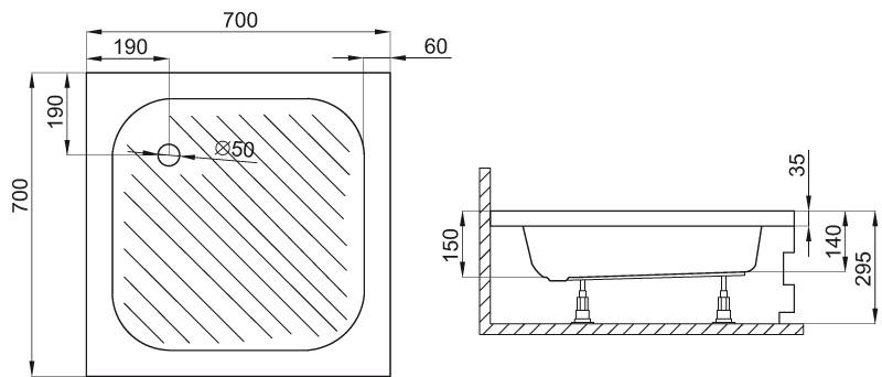 duschwanne duschtasse dusche 70 x 70 x 15 cm viereck siphon acryl ebay. Black Bedroom Furniture Sets. Home Design Ideas