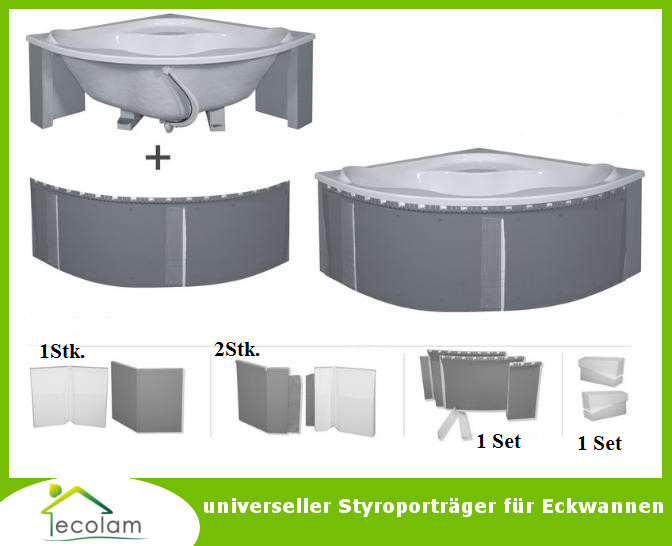 badewanne symmetrisch eckbadewanne 120x120 130x130 wannentr ger styropor f ebay. Black Bedroom Furniture Sets. Home Design Ideas